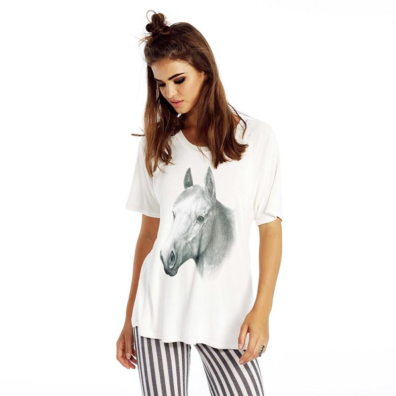 HDY Haoduoyi Fashion Solid 2 Colors Women T-shirt Horse 3D Print Short Sleeve Crew Neck Tees Women Loose Casual Basic Top-SHIRTS-SheSimplyShops