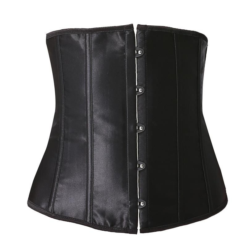 Sexy Corsets Steel Boned Women Underbust Waist Slimming Corset Adjustable Bustier Satin Black Top-Tops-SheSimplyShops
