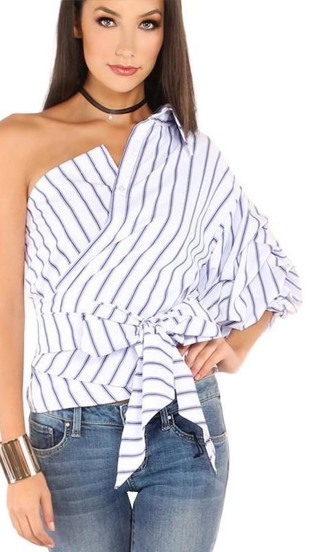 HDY Haoduoyi Striped Women Blouses One Shoulder V-neck Half Puff Sleeve Casual Shirts Women Bow Ruffle Tie Waist Slim Tops-Bottoms-SheSimplyShops