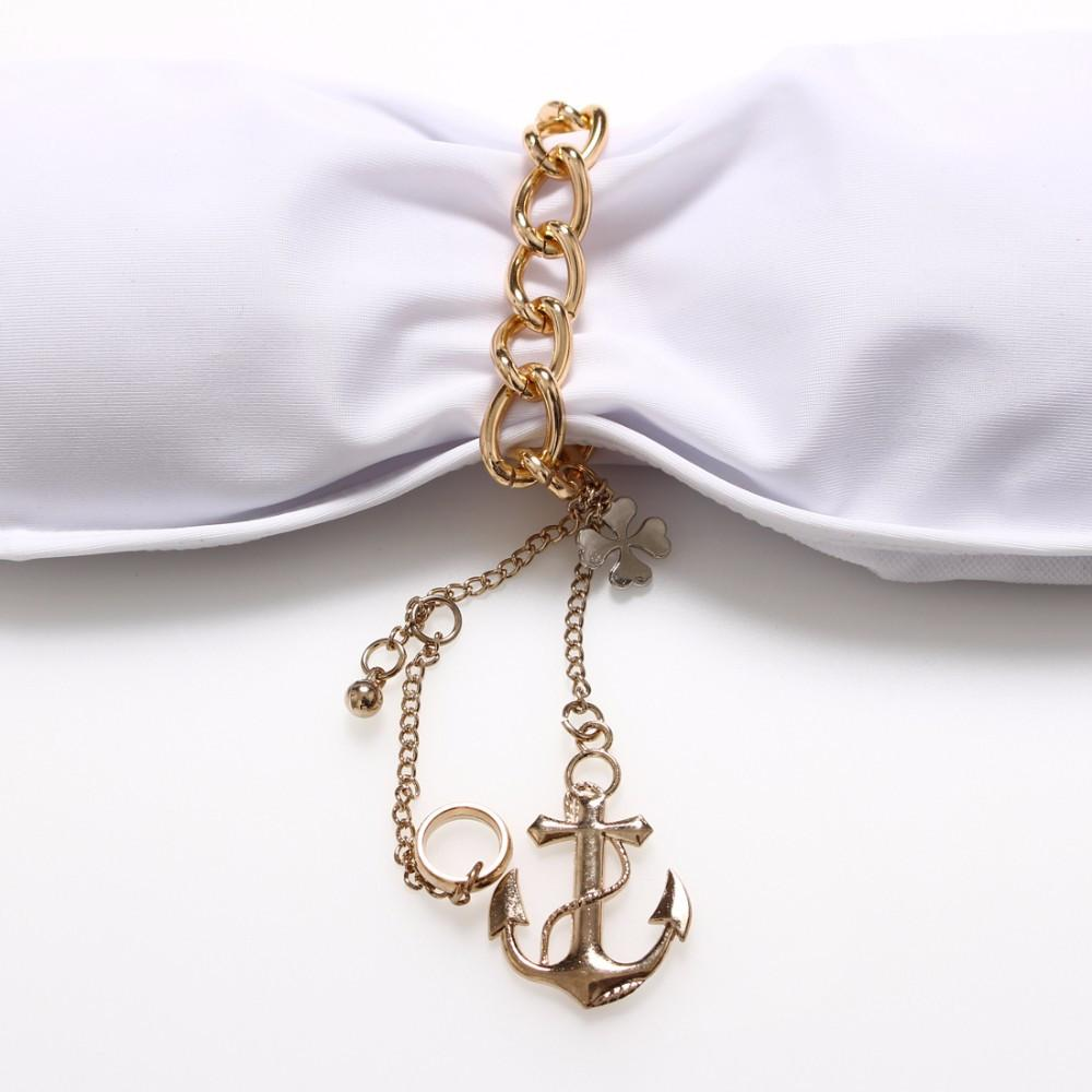 Gold Metal Chain Swimwear Sexy Anchor Pendant Bikini Set Women Swimsuit Strapless Padded Bathing Suits Beach Wear-SWIMWEAR-SheSimplyShops