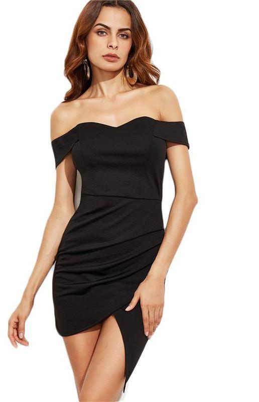 Black Off The Shoulder Ruched Wrap Dress Women Short Sleeve Dress Club Wear Sexy Mini Dress-Dress-SheSimplyShops