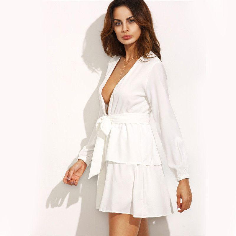 COLROVIE European Style Loose Fashions Designer Mini Dresses Ivory Deep V Neck Self Tie Long Sleeve Tiered Dress-Dress-SheSimplyShops