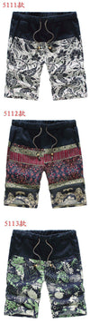 Fashion Men's Casual Linen Shorts Trousers with Mosaic Flower Pattern-PANTS-SheSimplyShops