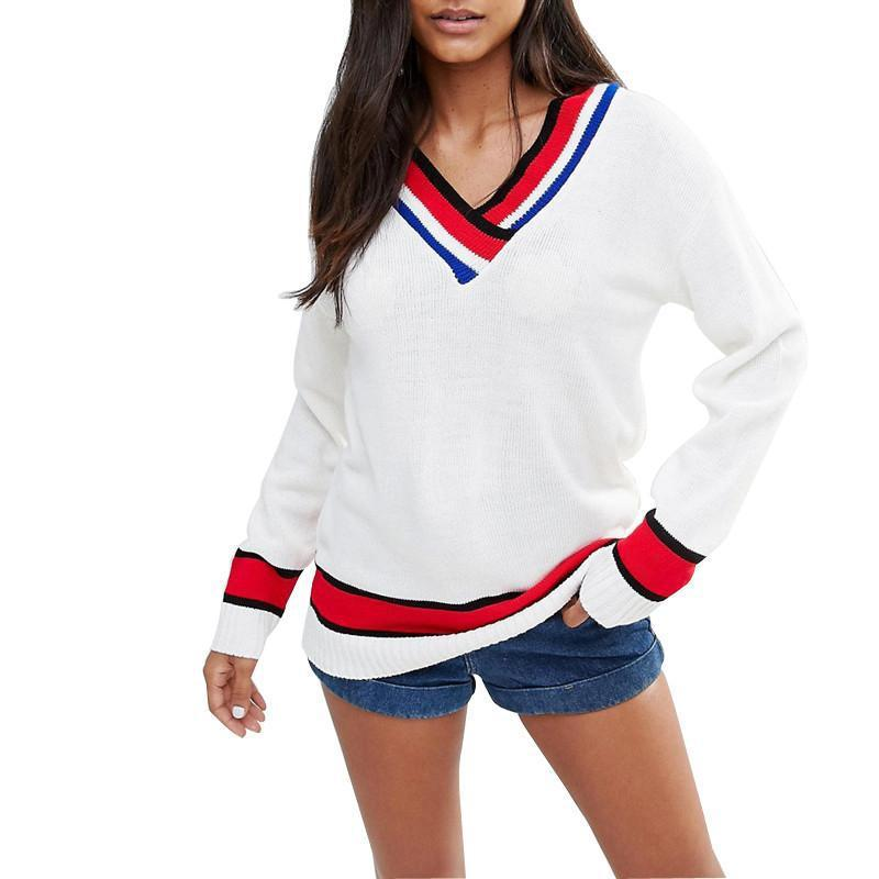 HDY Haoduoyi Solid White Autumn Women Casual Pullovers Color Block V-neck Loose Tops Preppy Style Warm Soft Striped Sweatshirts-SHIRTS-SheSimplyShops