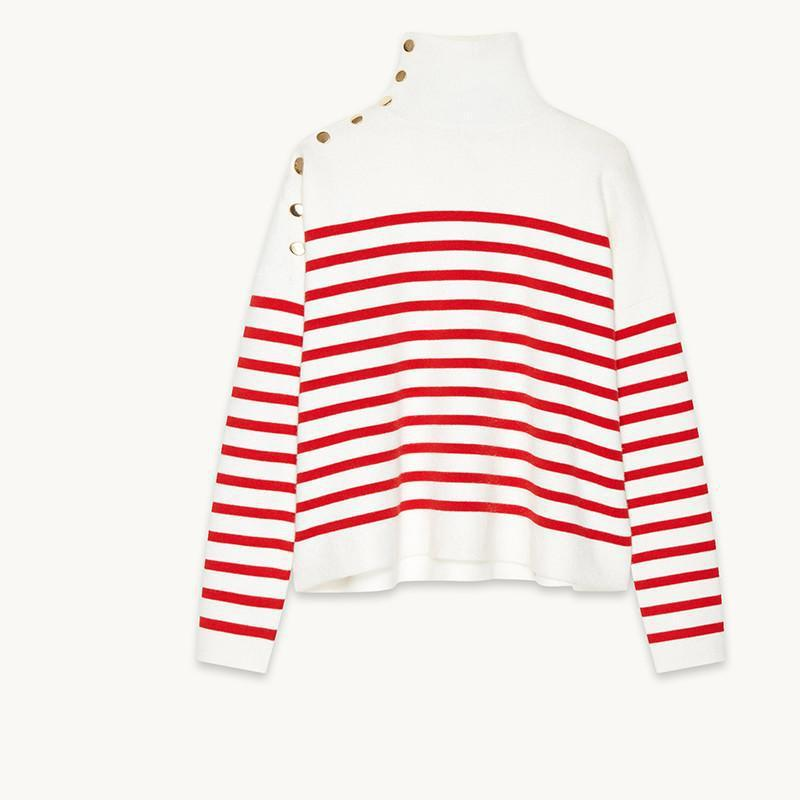 HDY Haoduoyi Fashion Red Striped Knitted Tops Women Long Sleeve Turtleneck Female Pullover Tops Casual High Low Slim Sweatshirts-SHIRTS-SheSimplyShops