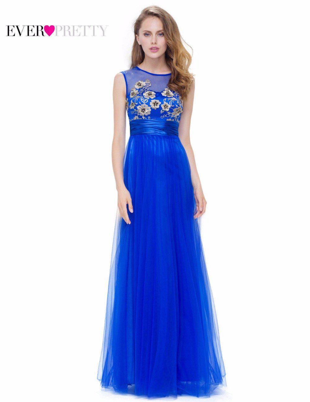 Fashion Sapphire Blue Evening Party Dress A Line Ever Pretty EP08899SB New arrival Women Elegant Sleeveless Long Dress-Dress-SheSimplyShops