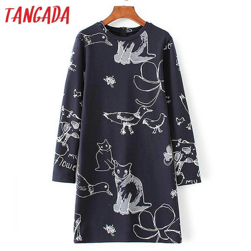 Tangada Fashion Korean Women Navy Short Dress Cartoon Print Back Zipper Elegant Long Sleeve Casual Brand Vestidos YD153-Dress-SheSimplyShops