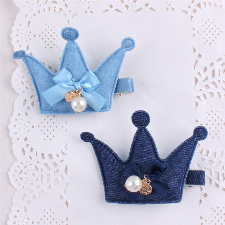 New Arrival Girl Kids Baby Dot Fox CrownHairpins denim Bowknot Hair Clip Children Barrette Hair Accessories-ACCESSORIES-SheSimplyShops