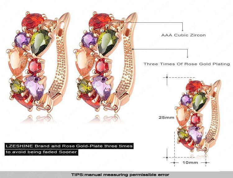 LZESHINE New 2PCS Flower Jewelry Set Multicolor Cubic Zircon Pendant/Earrings Wedding Women Jewelry Sets CST0040-EARRINGS-SheSimplyShops