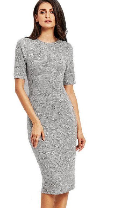 COLROVIE Heather Grey Ribbed Pencil Dress Work Wear Midi Dress Female O Neck Short Sleeve Sheath Plain Dress-Dress-SheSimplyShops