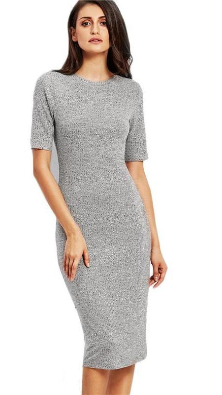 Heather Grey Ribbed Pencil Dress Work Wear Midi Dress Female O Neck Short Sleeve Sheath Plain Dress-Dress-SheSimplyShops