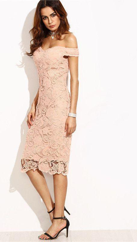 COLROVIE Female Pink Embroidered Lace Overlay Off The Shoulder Short Sleeve V Neck Slim Pencil Midi Dress-Dress-SheSimplyShops