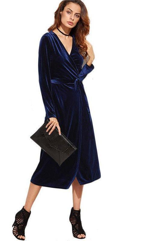 COLROVIE Fall Long Sleeve Dress Womens Sexy Dresses [arty Night Club Dress Navy Surplice Front Velvet Wrap Dress-Dress-SheSimplyShops
