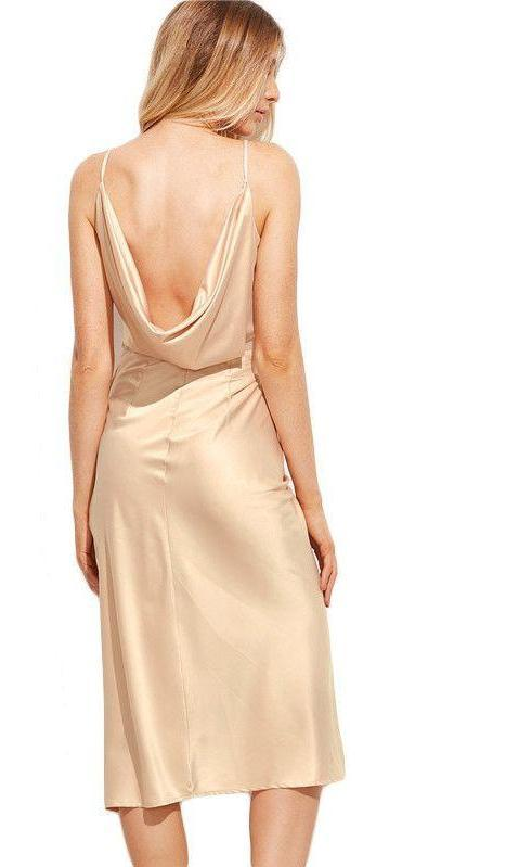 COLROVIE Womens Sexy Dresses Party Night Club Dress Pink Ruched Wrap Sleeveless Plunge Asymmetrical Midi Cami Dress-Dress-SheSimplyShops