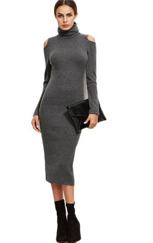 COLROVIE Long Sleeve Midi Dress Women Office Dresses Sheath Dress Grey High Neck Open Shoulder Ribbed Pencil Dress-Dress-SheSimplyShops