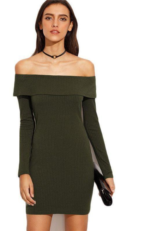 COLROVIE Army Green Off The Shoulder Long Sleeve Sheath Dress Autumn New Style Work Wear Bodycon Mini Dress-Dress-SheSimplyShops