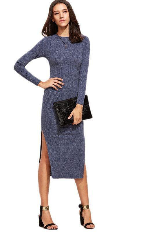 COLROVIE Blue Split Side Sweater Dress Autumn Dress Women Long Sleeve Sheath Midi Dresses Korean Fall Fashion Dress-Dress-SheSimplyShops
