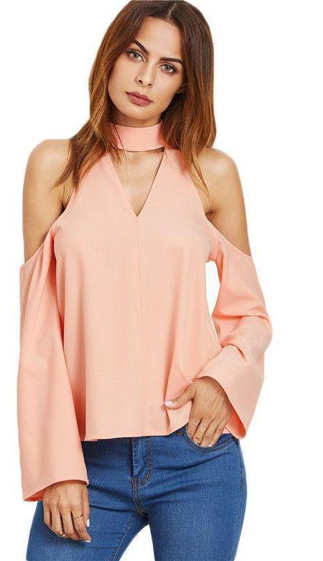 COLROVIE Ladies Office Shirts Women Shirts Women Fashion Long Sleeve Pink Cutout Choker Cold Shoulder Top Blouse-Blouse-SheSimplyShops