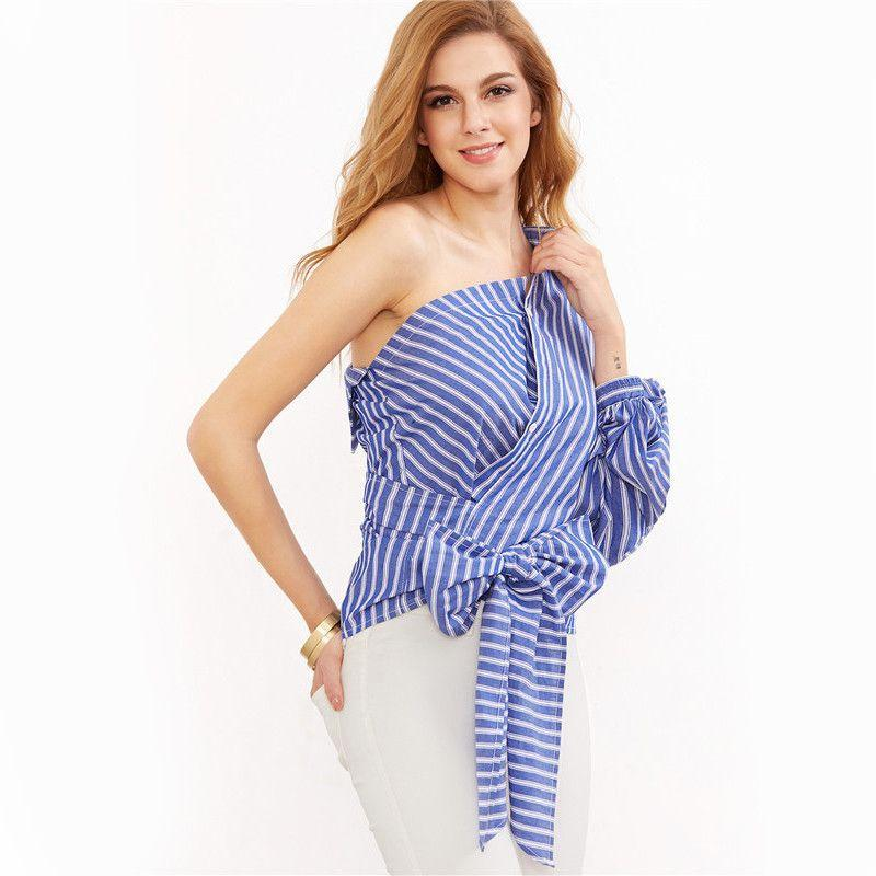COLROVIE Women Blouse Shirt Loose Style Women Tops and Blouse Blue Striped One Shoulder Wrap Around Button Down Top Blouse-Blouse-SheSimplyShops