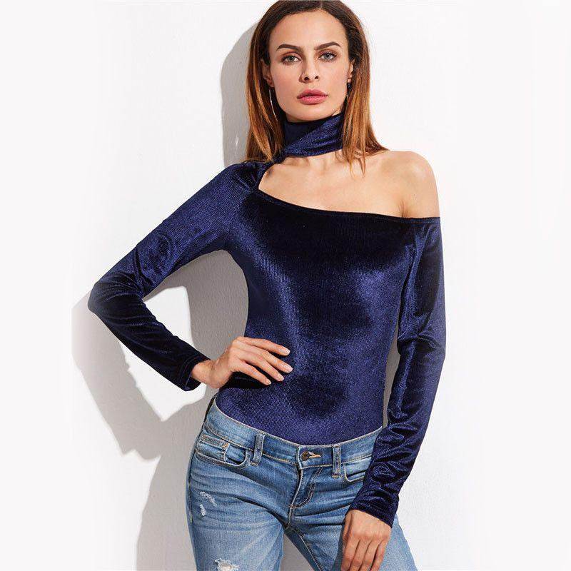 COLROVIE Long Sleeve Women Winter Tops Women Irregular Blouses Navy Cutout Asymmetric Shoulder Ribbed Bodysuit-Blouse-SheSimplyShops