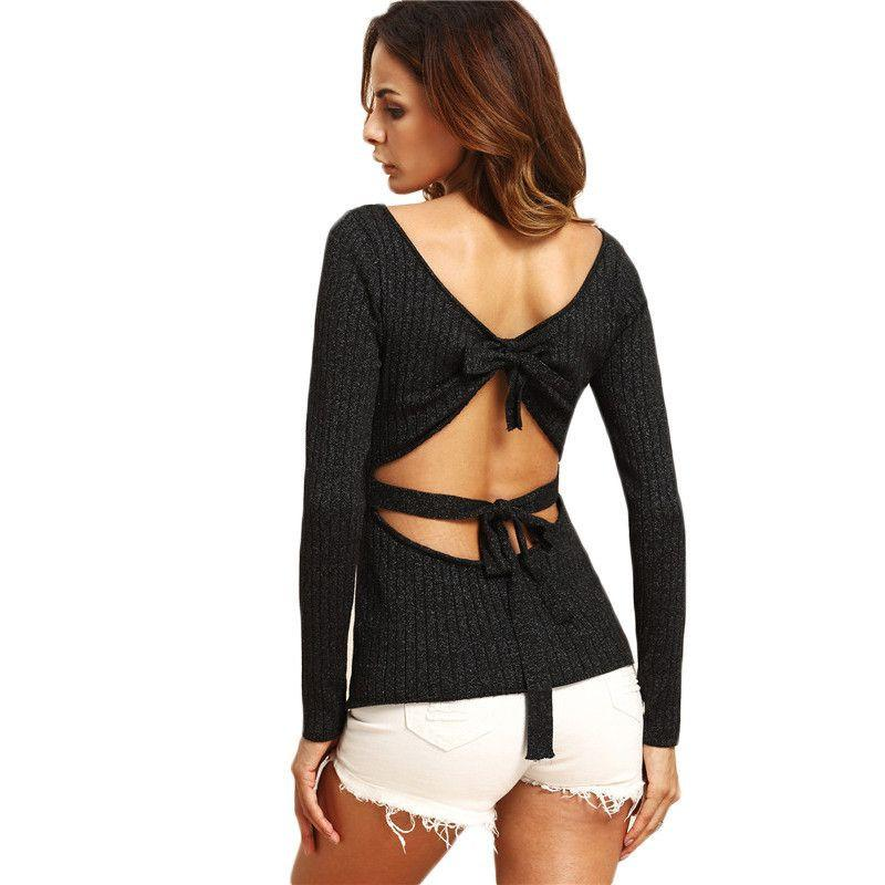 COLROVIE Black Tie Cut Out Back Knitted Top Female Round Neck Long Sleeve Pullover Sexy Autumn Sweater-SWEATERS + CARDIGANS-SheSimplyShops