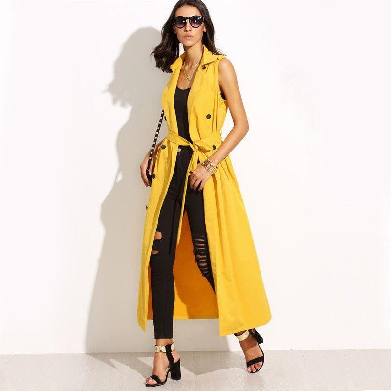 COLROVIE Yellow Lapel Tie Waist Sleeveless Outerwear Long Women Trench Coats Fall Solid Twin Pockets Double-breasted Coat-Coats & Jackets-SheSimplyShops