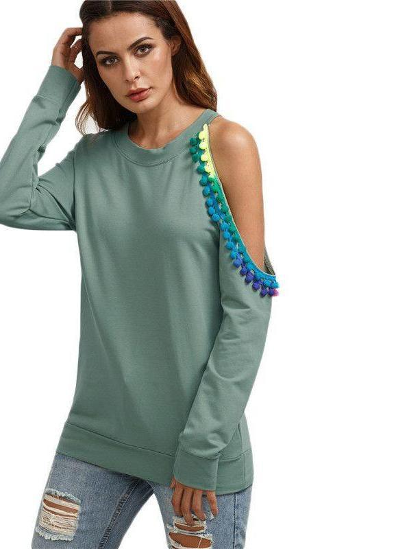 COLROVIE Green Asymmetric Open Shoulder Pullovers With Pom Pom Detail Women Long Sleeve Round Neck Sweatshirt-HOODIES-SheSimplyShops
