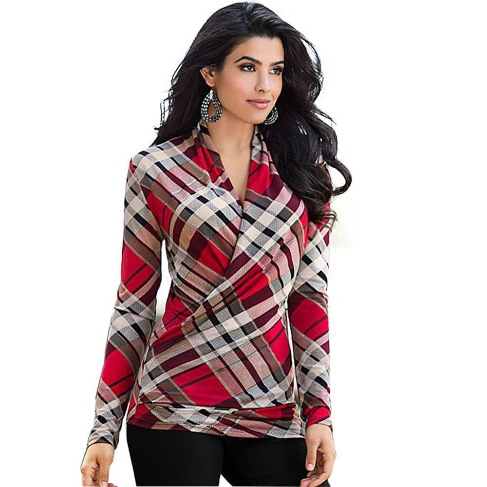New Stylish Autumn Twill Warp-ribproduct Print Sexy V-neck Long Sleeve Casual T-Shirts-SHIRTS-SheSimplyShops