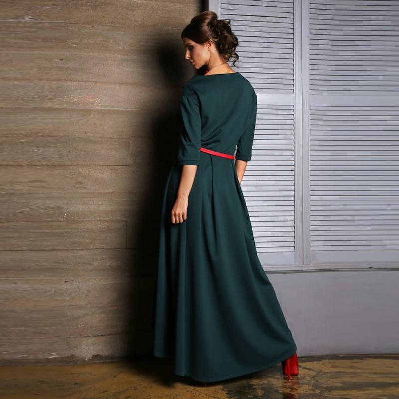 new women dress casual Asymmetrical beautiful o-neck elegant loose maxi long ladies dresses without belt-Dress-SheSimplyShops