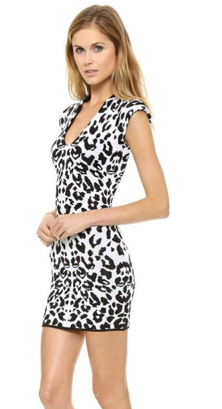 HDY Haoduoyi Color Block Fashion Mini Dress Women Short Sleeve O-neck Women Dress Vestidos Sexy Slim Leopard Print Party Dress-Dress-SheSimplyShops