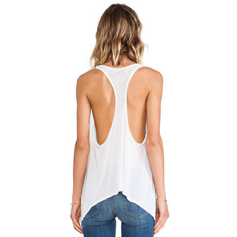 HDY Haoduoyi Fashion White Women Tanks Sleeveless Crew Neck Print Backless Pullovers Tops Women High Low Loose Casual Basic Vest-Tanks-SheSimplyShops