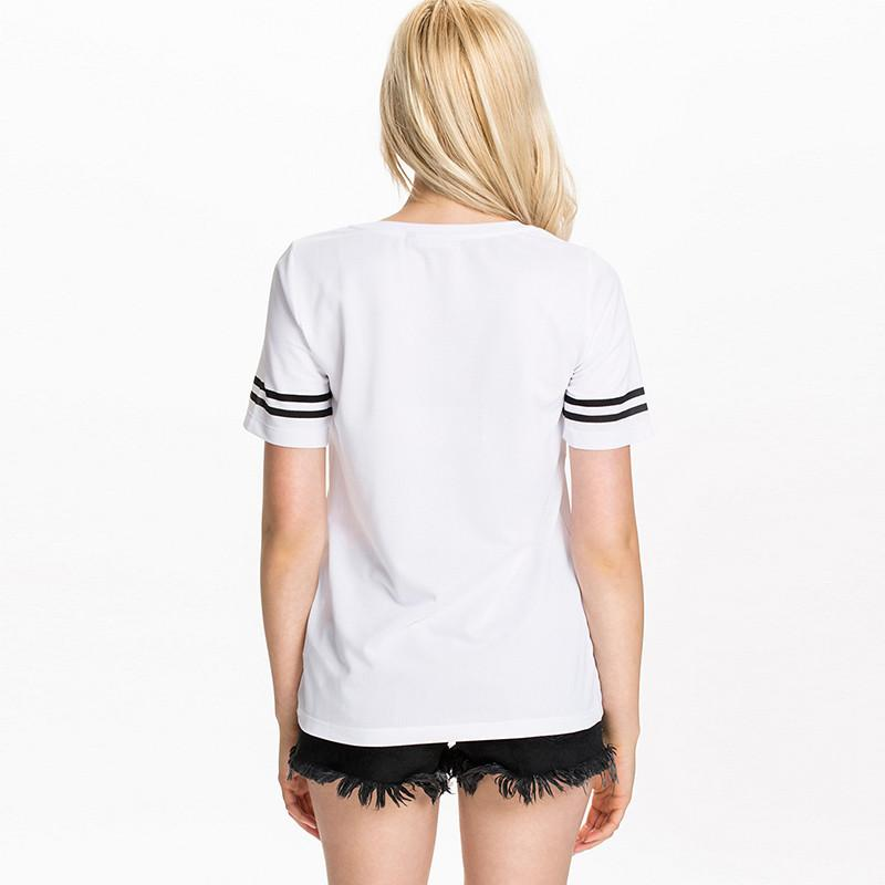 HDY Haoduoyi Fashion White Women T-shirts Short Sleeve Crew Neck Letter Print Pullovers Tops Women Loose Casual Basic Tees-SHIRTS-SheSimplyShops