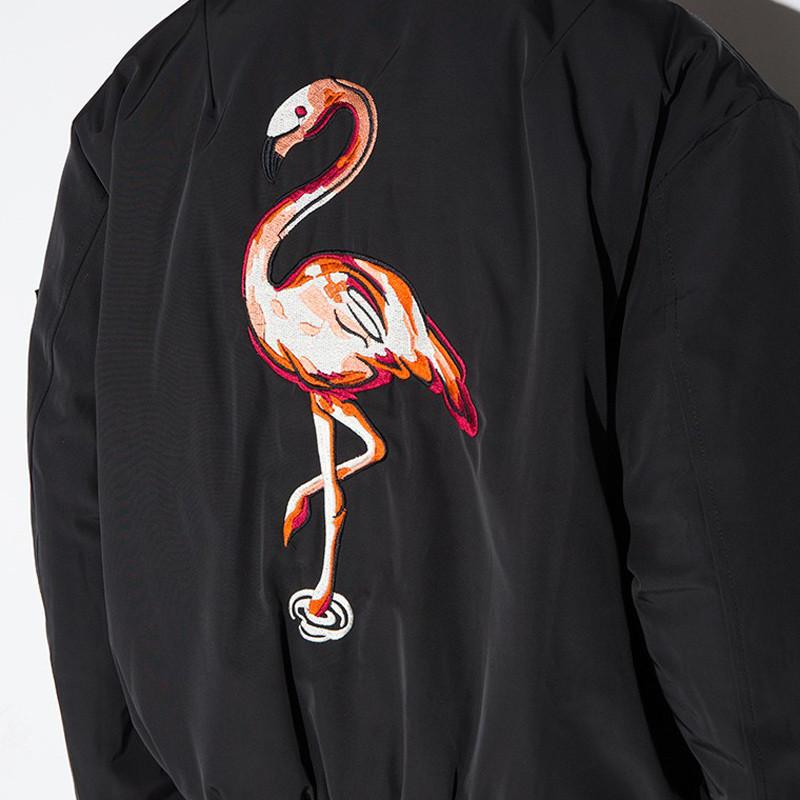 HDY Haoduoyi Autumn Fashion Women Solid Black Flamingos Embroidery Back Outwear Coats Zipper Long Sleeve Bomber Jackets-Coats & Jackets-SheSimplyShops