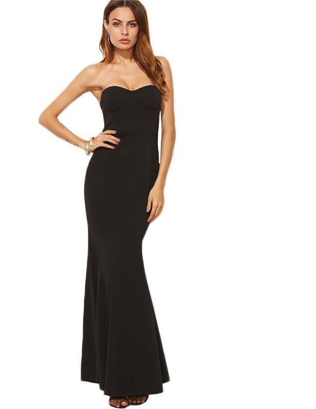SheIn Elegant Dresses for Women Sexy Dresses Party Night Club Dress Strapless Black Fishtail Bustier Bandeau Dress-Dress-SheSimplyShops