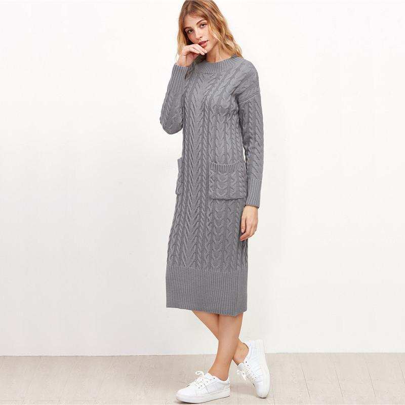 SheIn Designer Fashion Sweater Dresses for Winter New Grey Cable Knit Dual Pocket Front Slit Back Sweater Dress-Dress-SheSimplyShops
