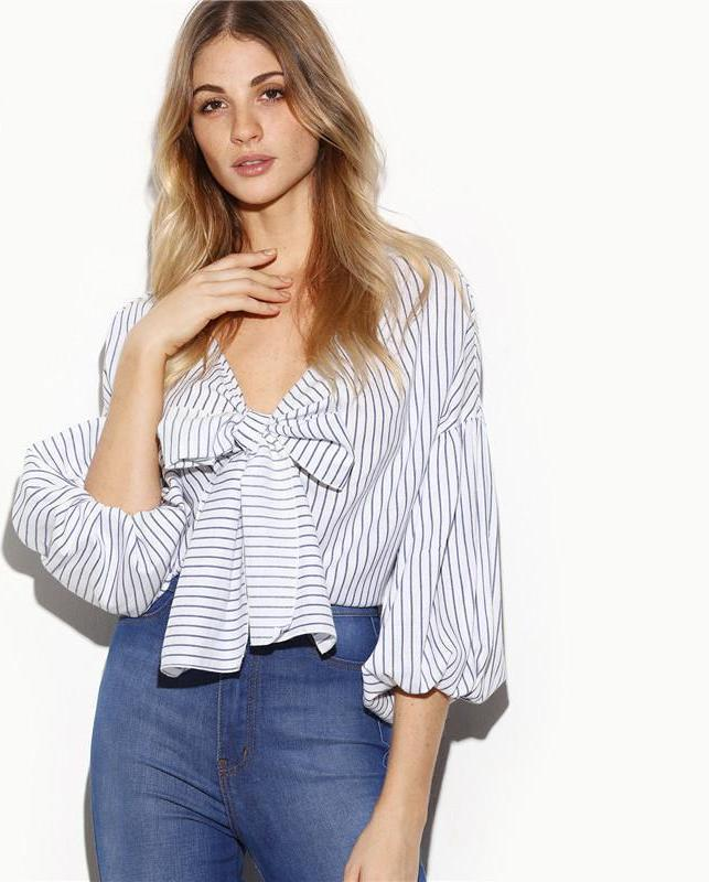 SheIn Vertical Striped Women Shirts White Women Tops Ladies Bow Tie Front V Neck Three Quarter Length Lantern Sleeve Blouse-Blouse-SheSimplyShops