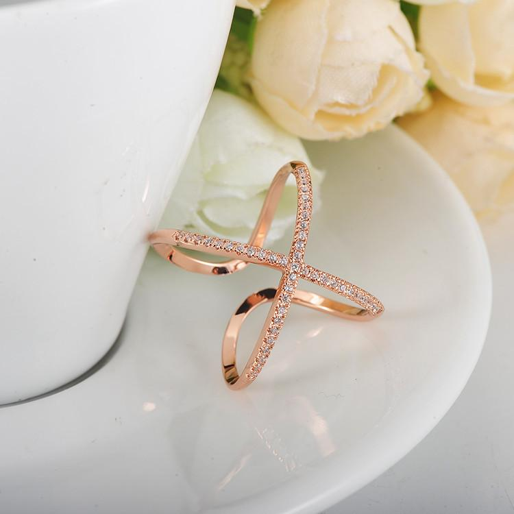 Anniversary Party Rings Rose Gold Silver Plate Created Diamond Cross Opening Ring Fashion Punk Jewelry-JEWELRY-SheSimplyShops