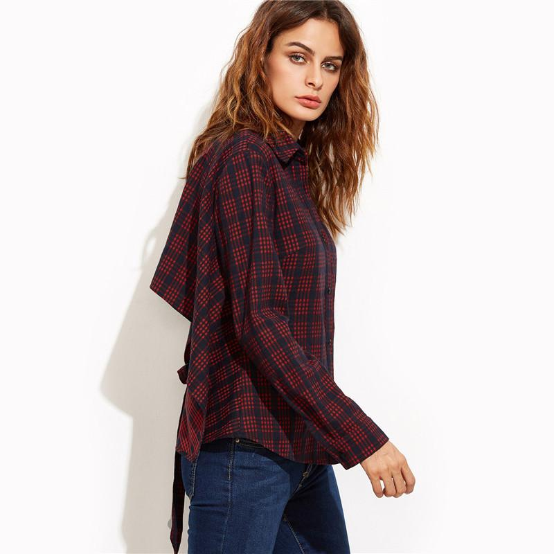 SheIn Long Sleeve Shirt Women Korean Fashion Clothing Vintage Burgundy Plaid Tie Back Lapel Buttons Front High Low Blouse-Blouse-SheSimplyShops