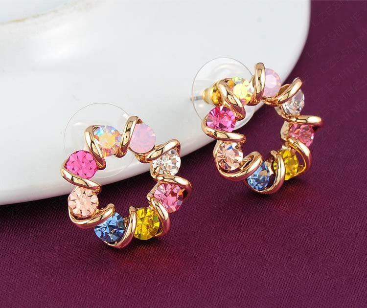 Colourful Crystal Earrings Gold Plate Fashion Stud Earrings Jewelry 19*19mm ER0080-C-EARRINGS-SheSimplyShops