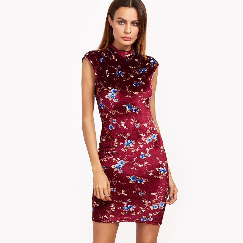 SheIn Burgundy Bodycon Party Dresses Sexy Club Dress Floral Print Ladies Cap Sleeve Mock Neck Vintage Mini Dress-Dress-SheSimplyShops