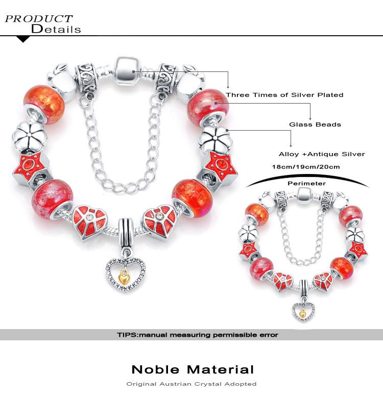 Summer Style Heart Murano Charms Crystal Bracelets & Bangles Jewelry Fit Bracelet For Women Gifts PCBR0057-BRACELETS-SheSimplyShops