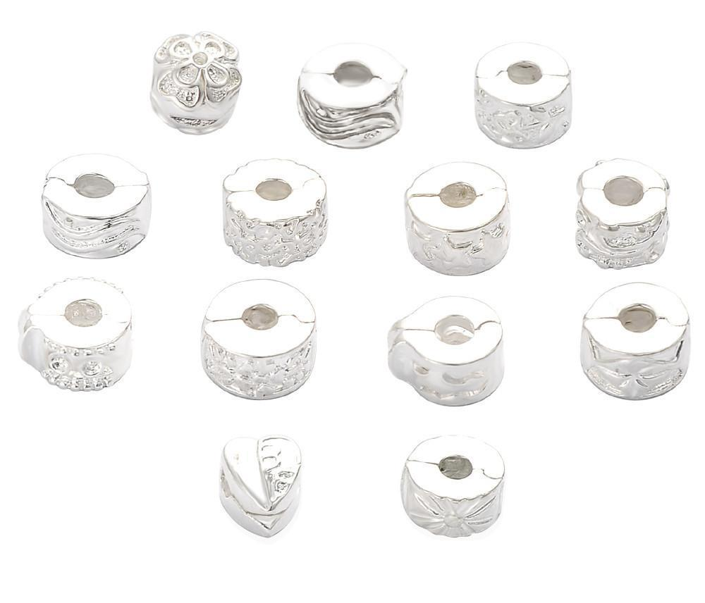 Lots Mixed 10 Pcs Silver Plate Stopper Beads Clips/Lock Fit European Bracelets-BRACELETS-SheSimplyShops