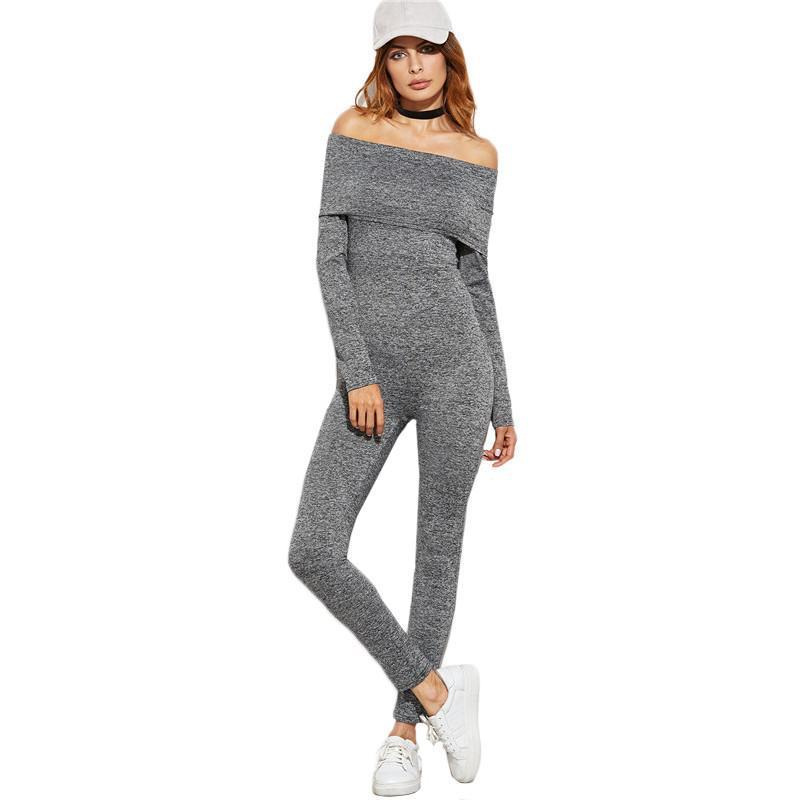 SheIn Sexy Women Rompers and Jumpsuits Overalls for Women Grey Marled Foldover Off The Shoulder Long Sleeve Skinny Jumpsuit-ROMPERS & JUMPSUITS-SheSimplyShops