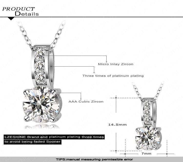 LZESHINE Fashion Costume Jewelry Small Size Classic AAA+ Cubic Zirconia Crystal Pendant Necklace Collares Mujer CNL0019-EARRINGS-SheSimplyShops