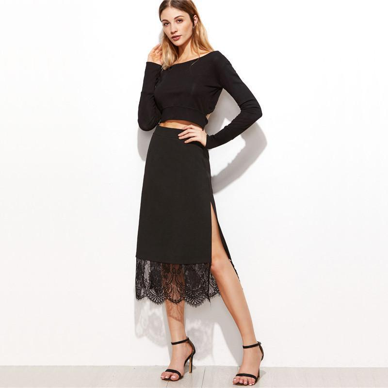 SheIn Ladies Black Skirts Women Contrast Lace Split Side Sexy Skirt New Arrival Spring High Wasit Elegant A Line Skirt-Dress-SheSimplyShops