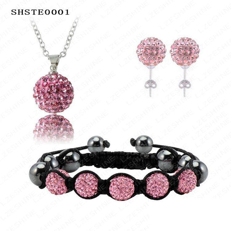 Elegant Fashion Shamballa Set(85Pcs)Crystal Necklace Pendant/Bracelet/(85Pcs)Crystal Earring Shambala Set SHSTEmix1-EARRINGS-SheSimplyShops