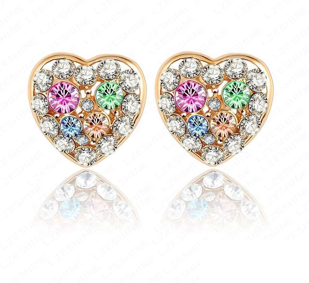 LZESHINE New Arrival Gold Plate Austrian Crystal Earrings Heart Studs Earrings Fashion Women Earring 17*17mm ER0025-C-EARRINGS-SheSimplyShops