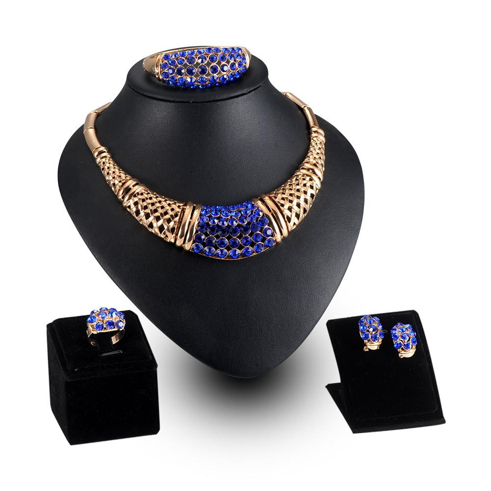 European and American Fashion Brand Gold Plated Four-piece Sets Accessories African Beads Jewelry Set-EARRINGS-SheSimplyShops