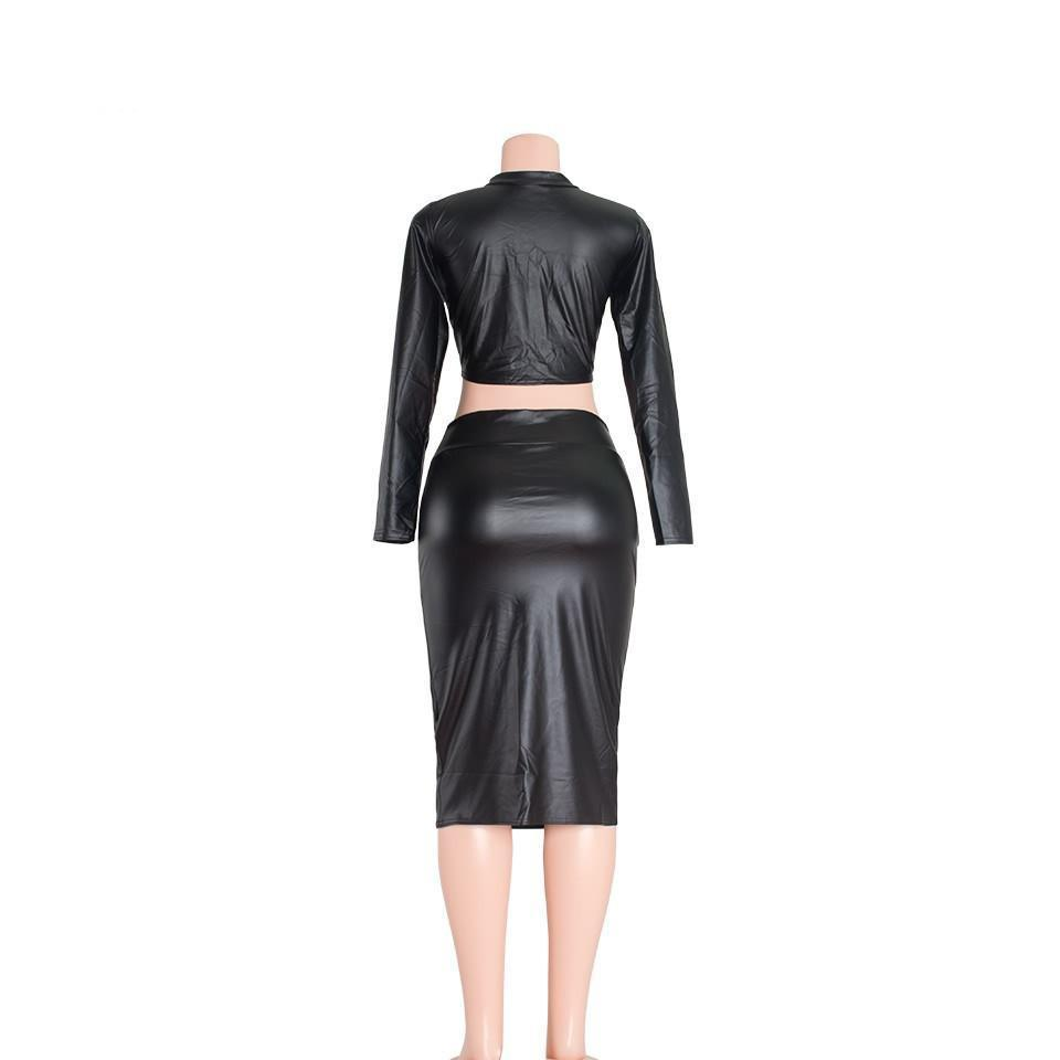 Sedrinuo Autumn New Arrival Long Sleeve Two Piece Bodycon Black Dresses Leather PU Round Neck Bandage Pencil Women Dress-Dress-SheSimplyShops