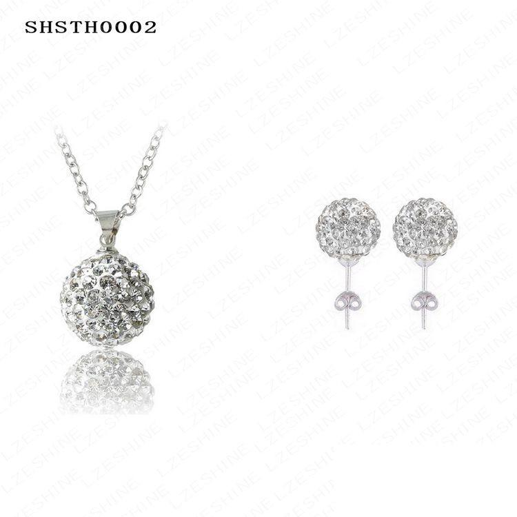 New Arrival Fashion Shamballa Set Crystal Shamballa Earring/Necklace Pendant Set Mix Colors Option SHSTHmix1-EARRINGS-SheSimplyShops